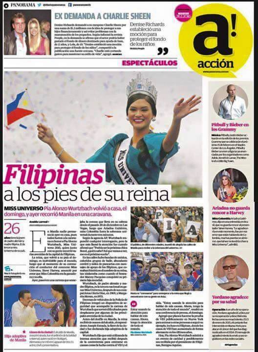 Miss Universe Pia Wurtzbach featured in Venezuelan National Newspaper